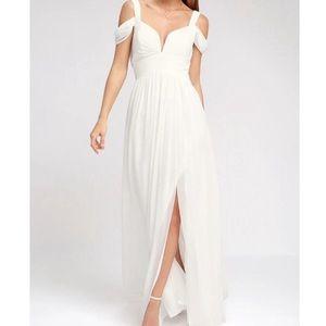 Lulu's Ocean of Elegance Ivory Maxi Dress